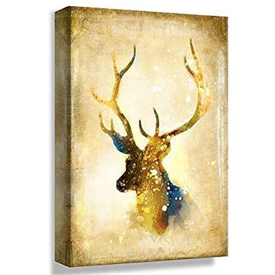 Golden Stag Head - Canvas Art
