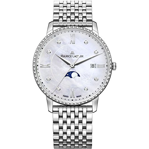 Maurice Lacroix Women's Eliros Moonphase 35mm Watch | Diamond/Silver