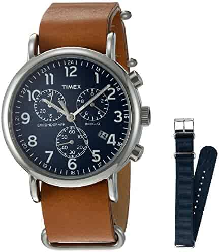Timex Unisex TWG012800 Weekender Chrono Tan Leather Strap Watch Gift Set + Navy Nylon Strap