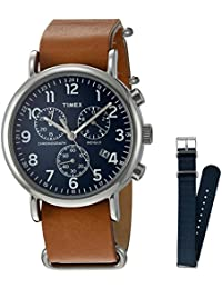 TWG012800QM Unisex Weekender Chrono Tan Leather Strap Watch Gift Set + Navy Nylon Strap