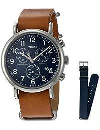 Timex Weekender - Reloj cronógrafo (40 mm), Tan/Blue + Extra Strap