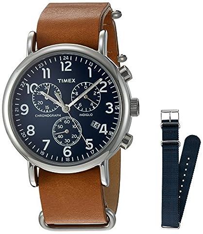 Timex TWG012800QM Analog Quartz Brass Brown & Blue Weekender Watch - Chrono Classic Ladies Watch