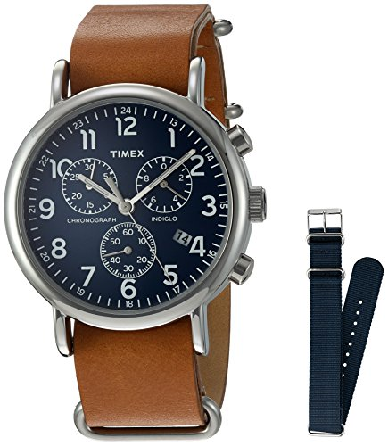 (Timex TWG012800QM Unisex Weekender Chrono Tan Leather Strap Watch Gift Set + Navy Nylon)