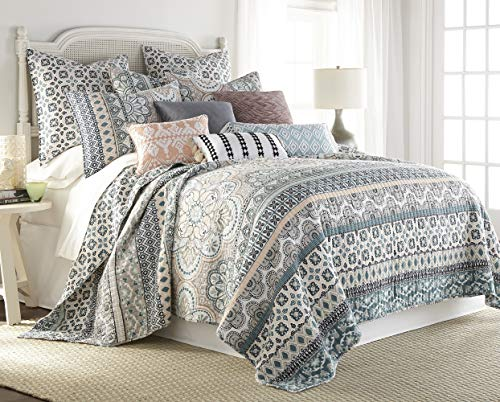 Levtex Addie F/Q Quilt Set, Floral, 100% Cotton, White, Teal, Blush, Grey