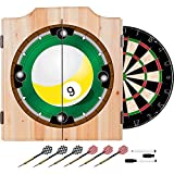 9 Ball Billiards Design Deluxe Solid Wood Cabinet Complete Dart Set