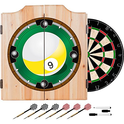 9 Ball Billiards Design Deluxe Solid Wood Cabinet Complete Dart Set by TMG