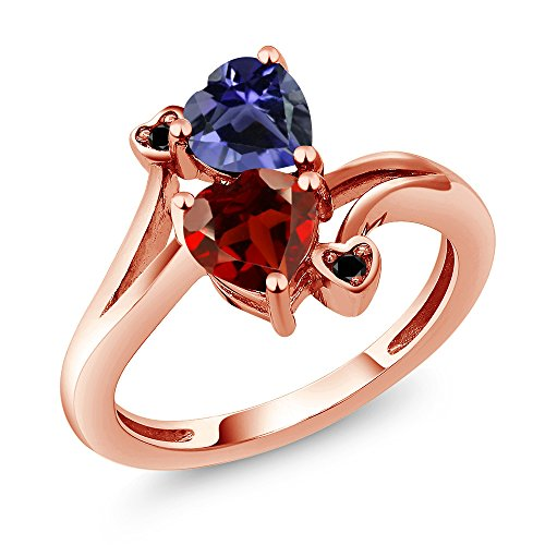 1.51 Ct Heart (1.51 Ct Heart Shape Red Garnet Blue Iolite 18K Rose Gold Plated Silver Ring)
