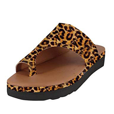 9420a9bf043f2 Amazon.com: Moonker Women Leopard Wedges Slides Summer Slippers ...