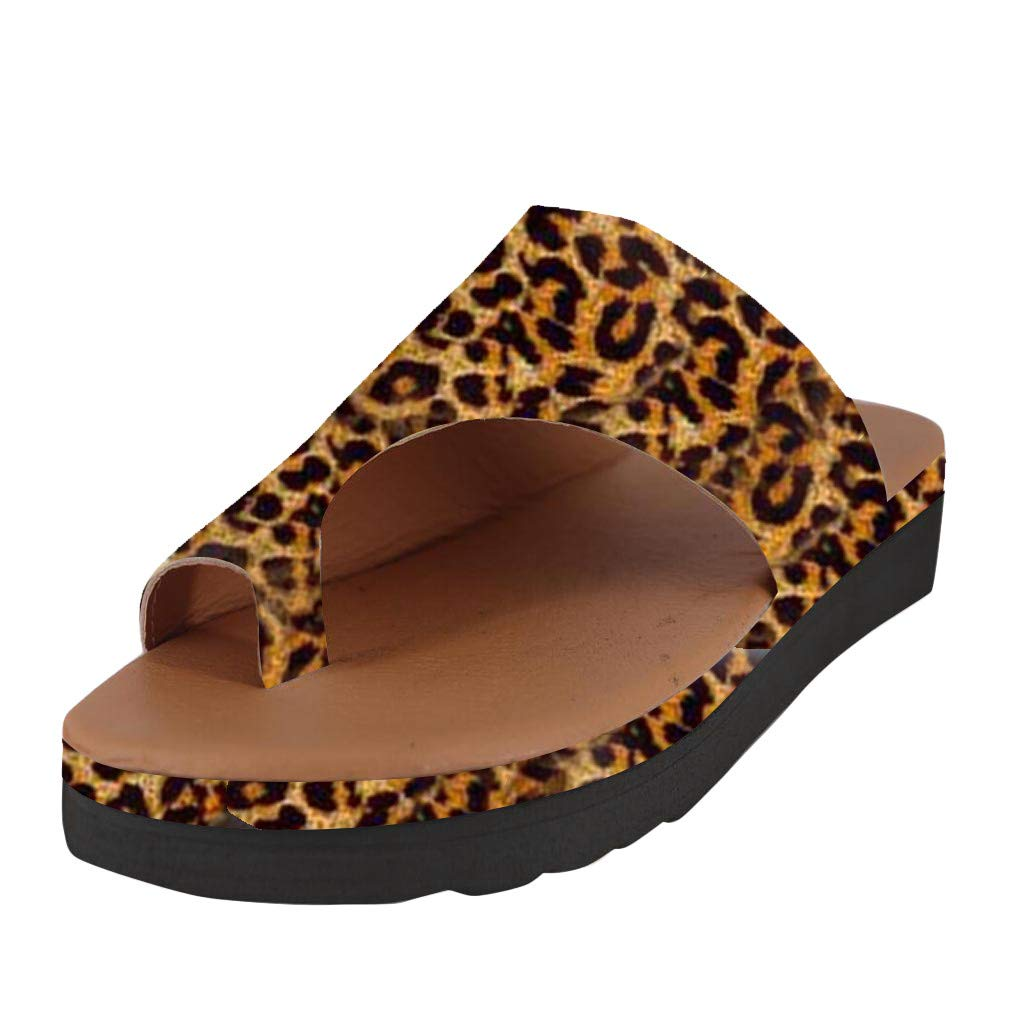 Sharemen Women's Summer Fashion Slippers Retro Leopard Thick Bottom Toe Sandals Slippers Non-Slip Casual Shoes(Yellow,US: 9)