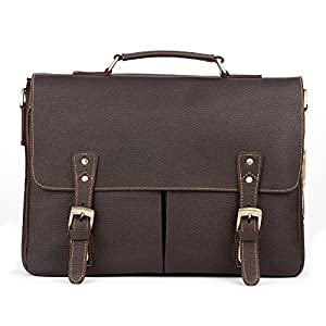 Kattee Vintage Leather Briefcase 15.7 Inch Laptop Messenger Bag Tote