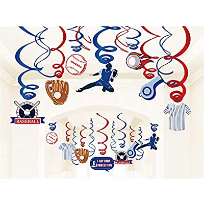 Kristin Paradise 30Ct Baseball Hanging Swirl Decorations, Kids Party Supplies, Birthday Theme Decor for Boy Girl Baby Shower, 1st Bday Favors Idea: Toys & Games
