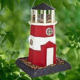 North States Mypet Large Lighthouse Birdfeeder, Red/White