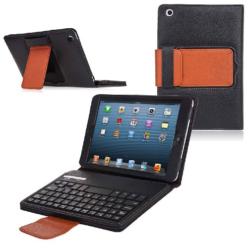 Ionic Bluetooth Keyboard Tablet Stand Leather Case for iPad Mini