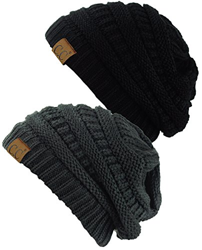 C.C Trendy Warm Chunky Soft Stretch Cable Knit Beanie Skully, 2 Pack Black/Melange Gray ()