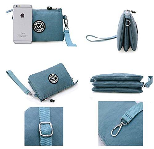 Tiny Chou tre strati e portamonete con cerniera-Braccialetto in Nylon impermeabile, Custodia per cellulare, con tracolla Blu (Azzurro)