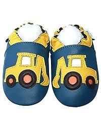 Jinwood Soft Sole Leather Baby Crib Shoes Infant Toddler Children Kid Boy Gift Excavator Blue