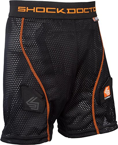 Shock Doctor Girls Core Loose Hockey Shorts with Pelvic Protector, X-Small