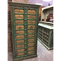 Mogul Interior Antique Armoire Brass Floral Carved Green Patina Storage Cabinet Moroccan Eclectic Vintage Indian Furniture