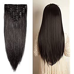 "Double Weft 100% Remy Human Hair Clip in Extensions 14''-22'' Grade 7A Quality Full Head Thick Thickened Long Soft Silky Straight 8pcs 18clips Off Black (18"" / 18 inch 140g,#1B Natural Black)"