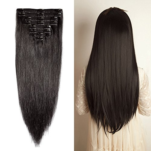 (Double Weft 100% Remy Human Hair Clip in Extensions #1B Natural Black 10''-22'' Grade 7A Quality Full Head Thick Thickened Long Short Straight 8pcs 18clips for Women Beauty 12