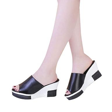 f9791e165218 Women s Summer Platform Shoes Wedges Sandals Open Toe Flats Flip Flops  Outdoor Slippers Pump Beach Dress