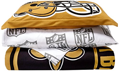 The Northwest Company Officially Licensed NFL New Orleans Saints Soft & Cozy 5-Piece Twin Size Bed in a Bag Set (New Orleans Saints Twin Comforter)