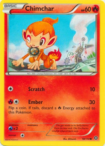 Pokemon - Chimchar (18/114) - XY Steam Siege (Pokemon Chimchar)