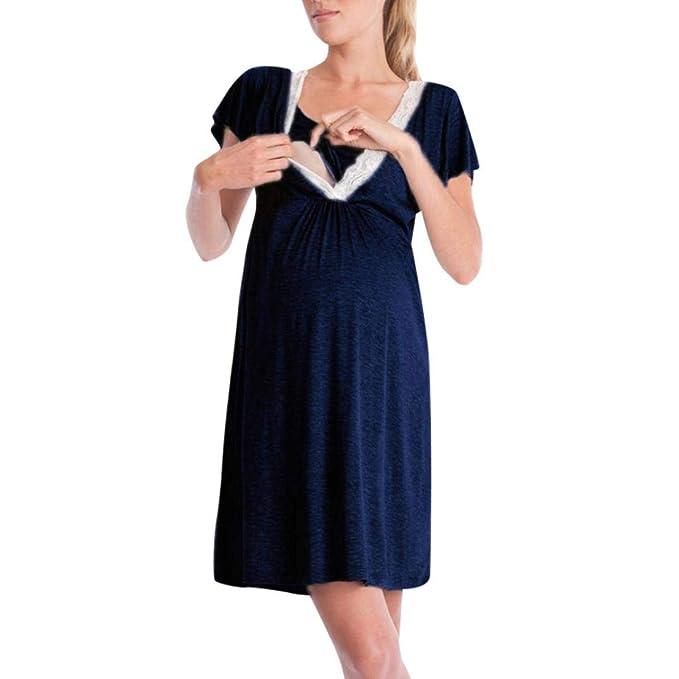 Ropa Embarazadas BBsmileMadre de Mujer Embarazadas de Encaje Enfermería Informal Bebé para la Maternidad Vestido de