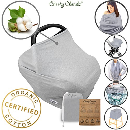 ☆ Organic Cotton ☆ Nursing Breastfeeding Cover Scarf, Baby Car Seat Canopy, Canopies, Shopping Cart, Stroller, Carseat Covers for Girls and Boys Best Multi-Use Infinity Stretchy Shawl Shower (A Baby Cotton Car Seat Cover)