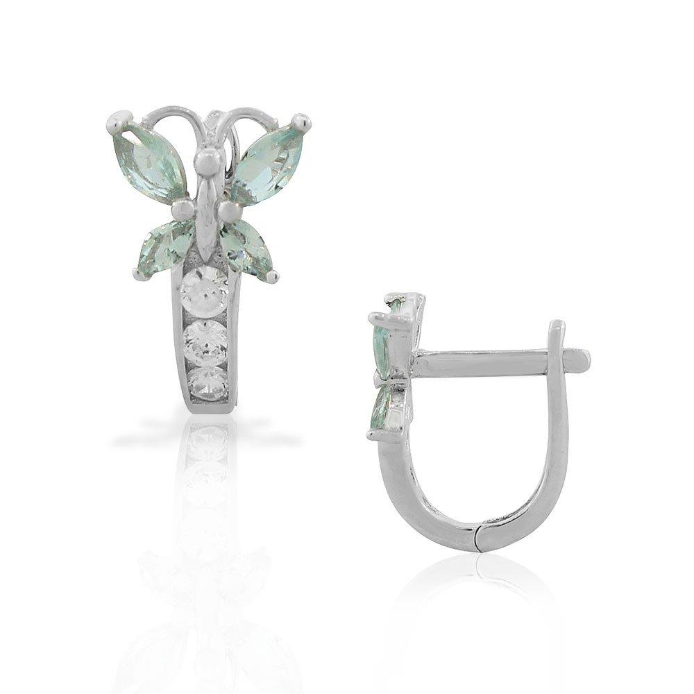 925 Sterling Silver Multicolor CZ Butterfly Hoop Huggie Girls Small Earrings
