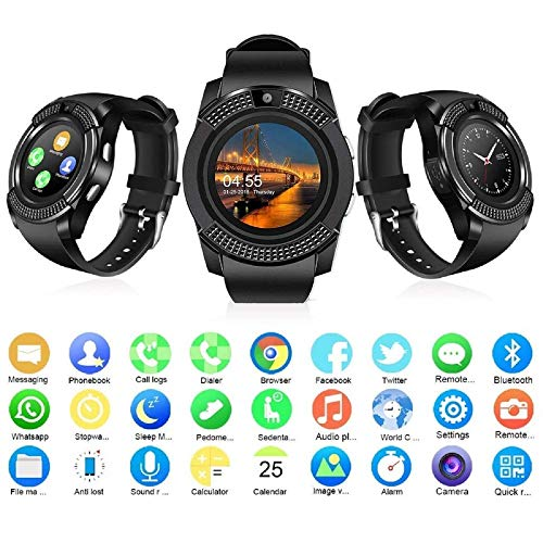 Faawn Smart Watches with Bluetooth SIM Card Slot Camera Pedometer Touch Screen Music Player Smart Watches for Mens and Boys (smartwatch) - Black