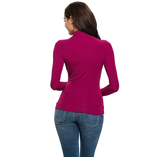 adada27e6af9 Amazon.com  BEUU 2019 Fashion Womens Long Sleeve Solid Slim Fit Turtleneck  Tee Shirt Top Blouse  Clothing