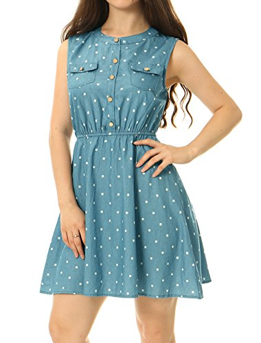 Polka Waist Sleeveless Dress Light Blue K Dot Women's Denim Above Allegra Knee Elastic cqB0tTWYw