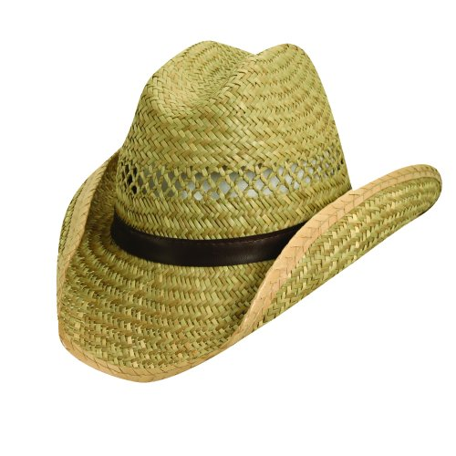 Dorfman Pacific Unisex Rush Straw 3 1/2 Inch Shapeable Brim Western Cowboy Hat, Medium, Natural