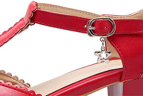 strap Bas T Femme Aisun Mary Talon Rouge Janes Boucle Mode 7xYIB