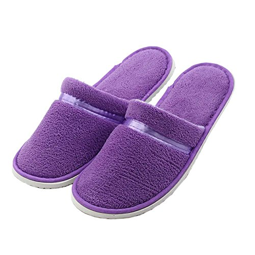 10 Pairs Hotel Spa Slippers Closed Toe Home Guest Slippers for Women, Purple