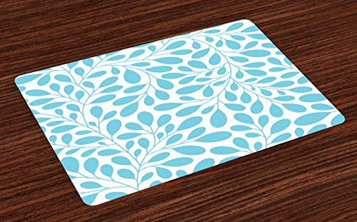 Ambesonne Leaves Place Mats Set of 4, Monochromatic Lush Foliage Feminine Nature Pattern Spring Season Illustration, Washable Fabric Placemats for Dining Room Kitchen Table Decor, Aqua and White ()