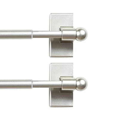 2 pack WL.Rocaille Magnetic Curtain Rods for Metal Doors and Window Black Multi-Use Adjustable Appliances for Iron and Steel Place Magnetic Towel Bar 9 to 16 Inch