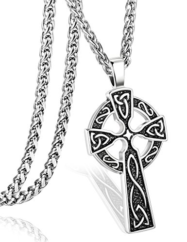 (ORAZIO Stainless Steel Celtic Cross Necklace for Men Women Irish Knot Pendant Necklace Chain 22