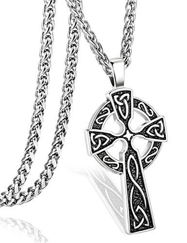 ORAZIO Stainless Steel Celtic Cross Necklace for Men Women Irish Knot Pendant Necklace Chain 30