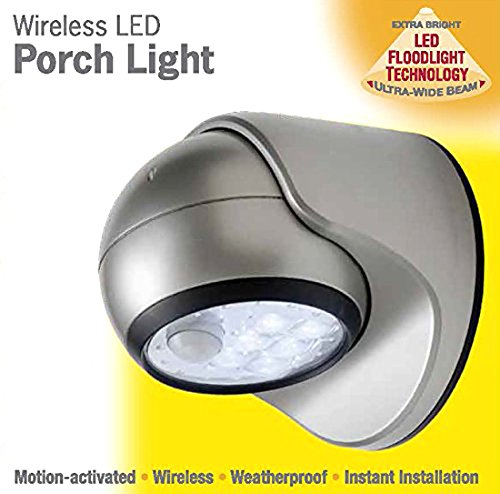 LIGHT IT! by Fulcrum 20035-101 6 LED Wireless Motion Sensor Weatherproof Porch Light, 2 Pack, Silver by LIGHT IT! by Fulcrum (Image #3)