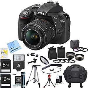 """Nikon D3300 Black 24.2MP DSLR Camera AF-S NIKKOR 18-55mm Lens Ultimate Bundle Includes Wide Angle & 2x Telephoto Lenses, Filter Kit, Flash, 16GB/8GB Memory Cards, Camera Bag, 57"""" Tripod & Much More"""