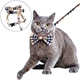 Mihachi Cat Harness Adjustable with Removable Bowtie-for Kitty & Rabbit,Plaid Harness and Leash Set, Beige