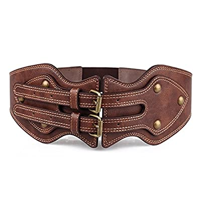 GABERLY Vintage Gothic Steampunk Brown Leather Belt for Women