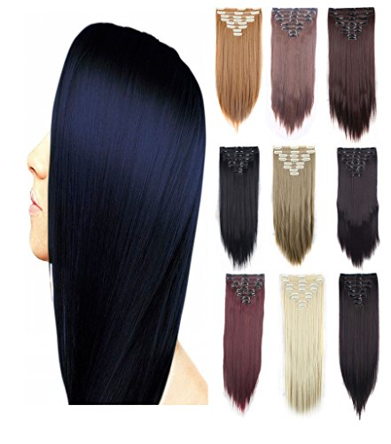 Haironline 3-5 Days Delivery Full Head 8 Peices Double Weft Clip In Real Thick Hair Extensions Straight Curly Wavy Hairpiece Girls Hairstyles 18 Clips