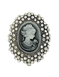 YAZILIND Vintage Crystal Resin Cameo Queen Lady's Brooch Jewelry For Wedding