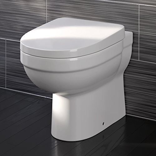 (iBathUK Luxury Back to Wall Toilet Pan & Soft Close Seat Modern Ceramic Bathroom WC)