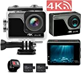 4K Action Camera Ultra HD WiFi Sports Camcorder 98ft Waterproof,DV Underwater Photography Cameras 16MP 2″ LCD Touchscreen Cam with EIS Sony Sensor, Includes Mounting Accessories and 2 Batteries