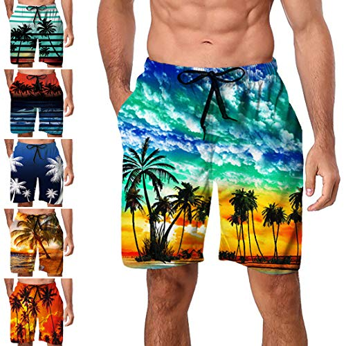 Freshhoodies Mens Hawaiian Swim Trunks Coconut Palm Tree Boardshorts with Mesh Lining Swimwear Bathing Suits Shorts (Style A4, X-Large)