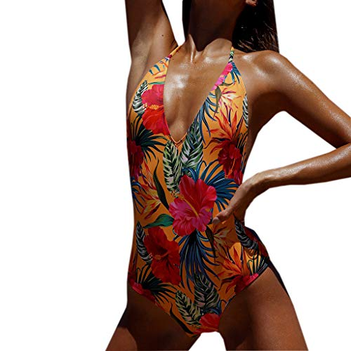 Tantisy ♣↭♣ Woman Fashion Floral Printed Sexy Lace V Neck High Leg Cutout Swimsuit Swimwear